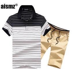 Aismz летние мужские короткие комплекты Повседневное спортивный костюм Для мужчин Moletom Masculino костюм рубашка поло в полоску + шорты 2 шт