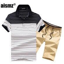 bb77aaa09e12 Aismz летние мужские короткие комплекты Повседневное спортивный костюм Для  мужчин Moletom Masculino костюм рубашка поло в