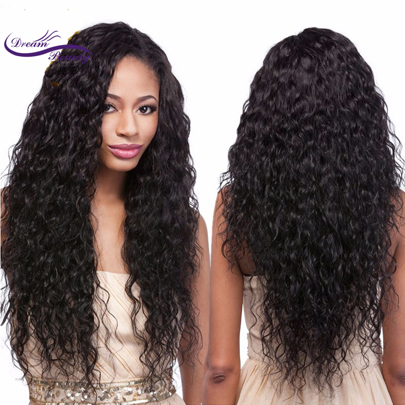 Dream Beauty Glueless 130% Density Curly Lace Front Human Hair Wigs Pre Plucked Brazilian Remy Hair Bleached Knots