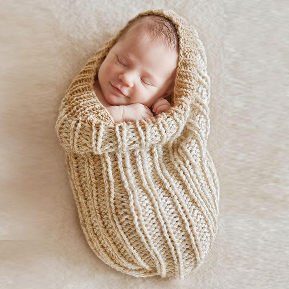 Newborn Sleeping Bag Baby Nest Knit Swaddle Sleeping Bag Kids Toddler Photography Props Baby Swaddle Bag