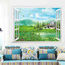 Nature Mountains Lake House Tree 3D Window View Living Room Decoration Creative Poster Mural  Wallpaer Wall Sticker Decor