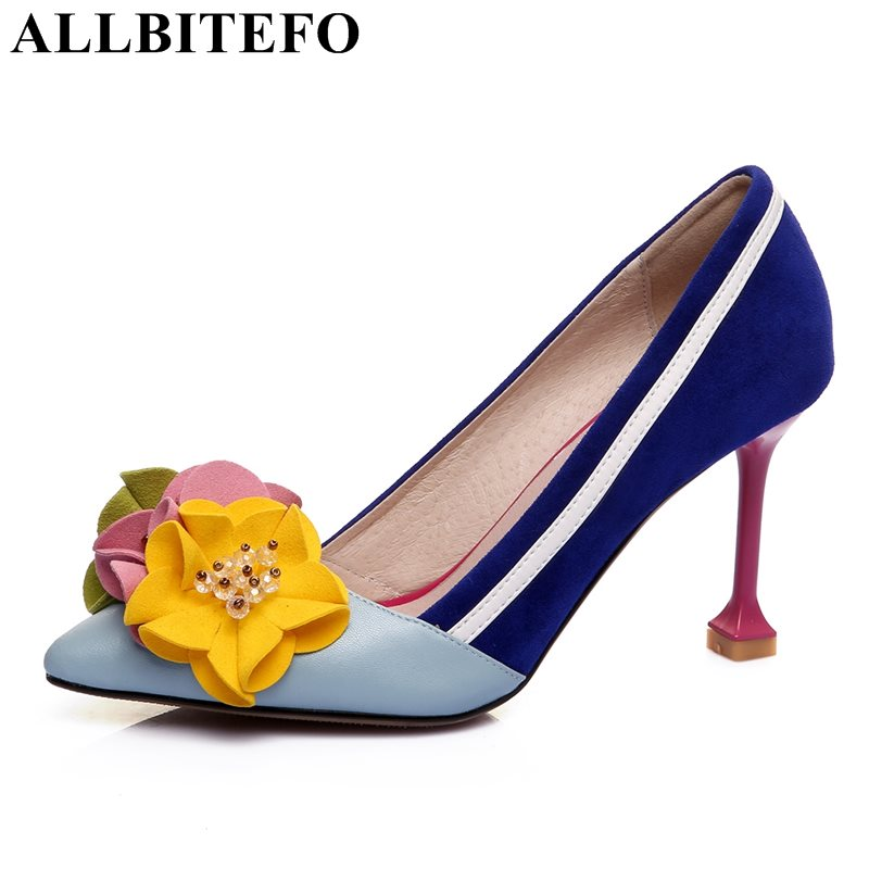 ALLBITEFO Beautiful Flower design genuine leather women pumps fashion sexy high heel shoes woman blue heel