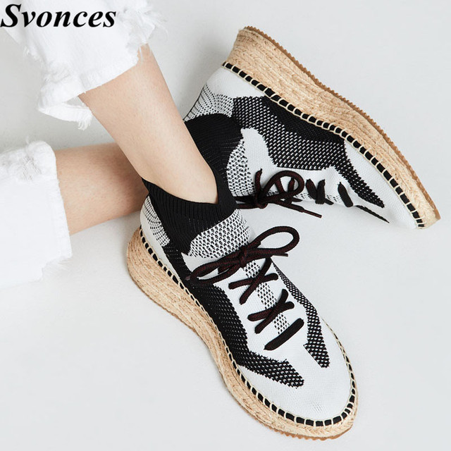 83c982fb17f7 Svonces Designer Brand Stretch Knit Espadrilles Braided Wedge Heel Platform  Shoes Lace Up Women Sock Sneakers Casual Flats Lady