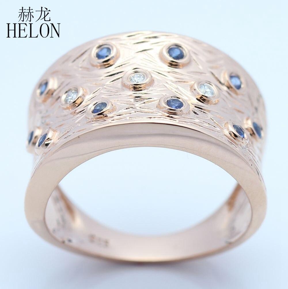 HELON فضة 925 جولة SI/H 0.3CT 100% الماس الياقوت الطبيعي الرجال خاتم الخطوبة الزفاف خمر العتيقة مجوهرات-في خواتم من الإكسسوارات والجواهر على  مجموعة 1