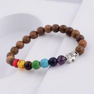 Image 4 - 7 Chakra Prayer Natural Wood Bracelet Men Ethinc Meditation Buddha&Elephant Yoga Bracelet For Women WABJ002