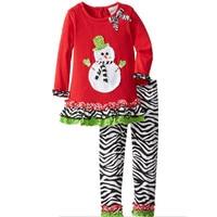 Fashion zebra kids ruffle pants and ruffle blouse set toddler girls christmas outfit