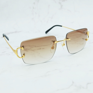 Oversized Rimless Sunglasses Vintage Sun Glass Men Designer Brand Luxury Women Sunglass Big Square Sunglasses Carter Shades(China)
