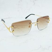 Oversized Rimless Sunglasses Vintage Sun Glass Men Designer Brand Luxury Women