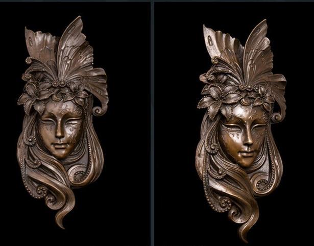 Art rétro décor à la maison en métal abstrait cuivre déco femme visage masque mur Relief laiton Sculpture paon ornementation 4 style