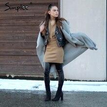Simplee Black ruffle warm winter coat