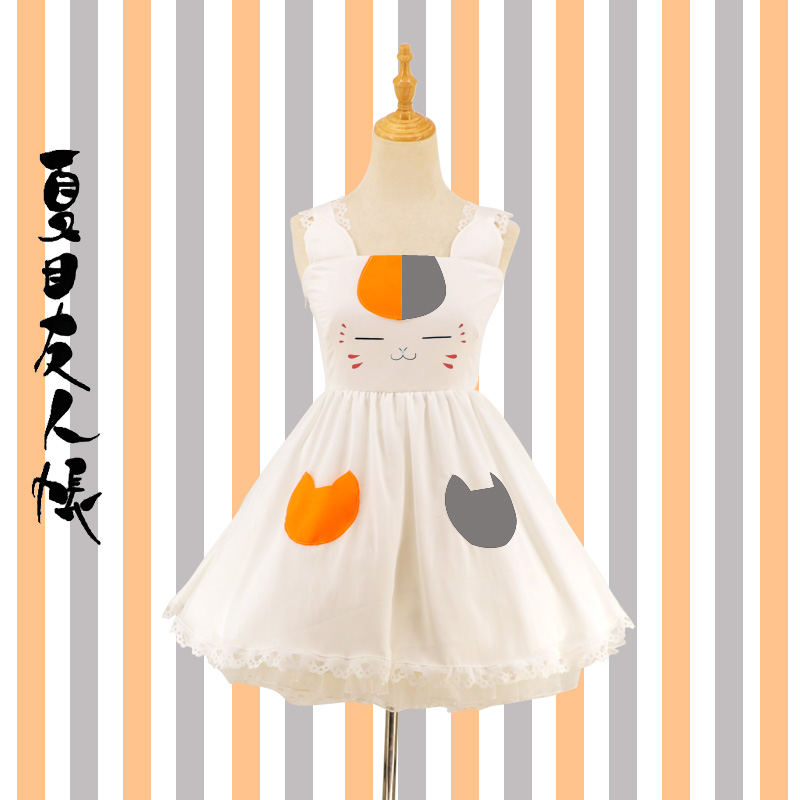 Japonais Anime Natsume Yuujinchou mignon Madara chat doux Lolita filles sans manches robes Lolita dentelle garniture en mousseline de soie Cosplay robe