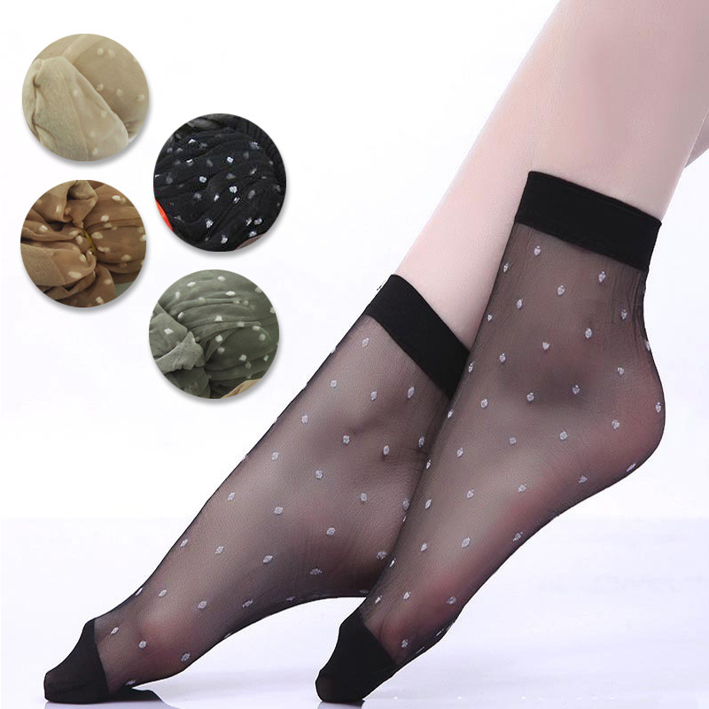 20Pcs=10Pair/Lot US$0.14Pair Hot Sale Cool Breathable Summer Style Sexy Black Skin   Socks   Pure Color Dots Women Girls Nylon   Socks