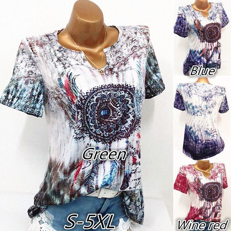 2018 Wome summer personality vintage graffiti printing V-neck short-sleeved T-shirt S-5XL female fashion casual streetwear Tees