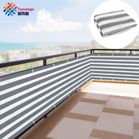 Tewango Privacy Screen Backyard Deck Patio Balcony Fence Porch Garden Sun Shade Mesh Panel White Gray Strips Shade Net