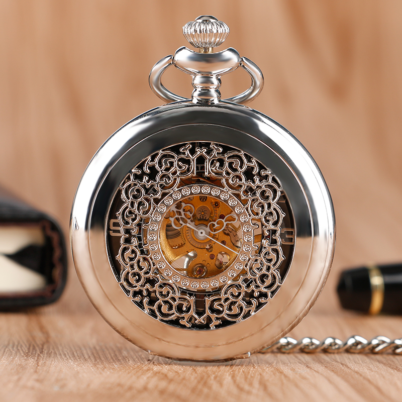 Hot Selling Mechanical Silver Pocket Watch Hollow Pattern Hand Wind Classic Steam punk Exquisite Necklace Chain Clock see though case classic half hunter glow in the dark arabic dial mechanical hand wind pocket watch w chain relogio de bolso