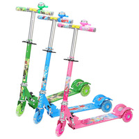 Adjustable Kick Scooter for Children Foldable Printing 3 Wheels Outdoor Sport Ride on Cars Toys Bearing 50kg
