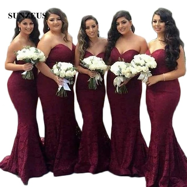 ee91cb8251 Compare Burgundy Lace Bridesmaid Dresses Sweetheart Mermaid Formal ...