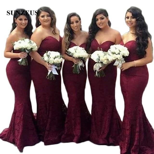a45f2d2c420f Burgundy Lace Bridesmaid Dresses Sweetheart Mermaid Formal Dresses Simple  Elegant Wedding Guest Dresses SBD82
