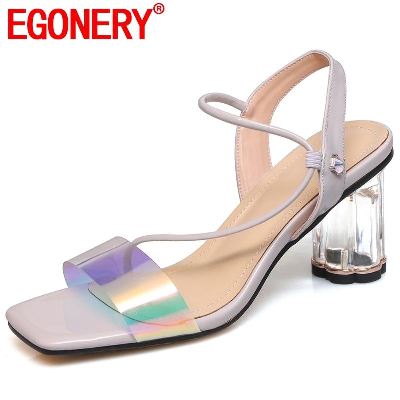 EGONERY sheepskin sweet bling woman sandals summer fashion patent leather 7 cm high round crystal heels