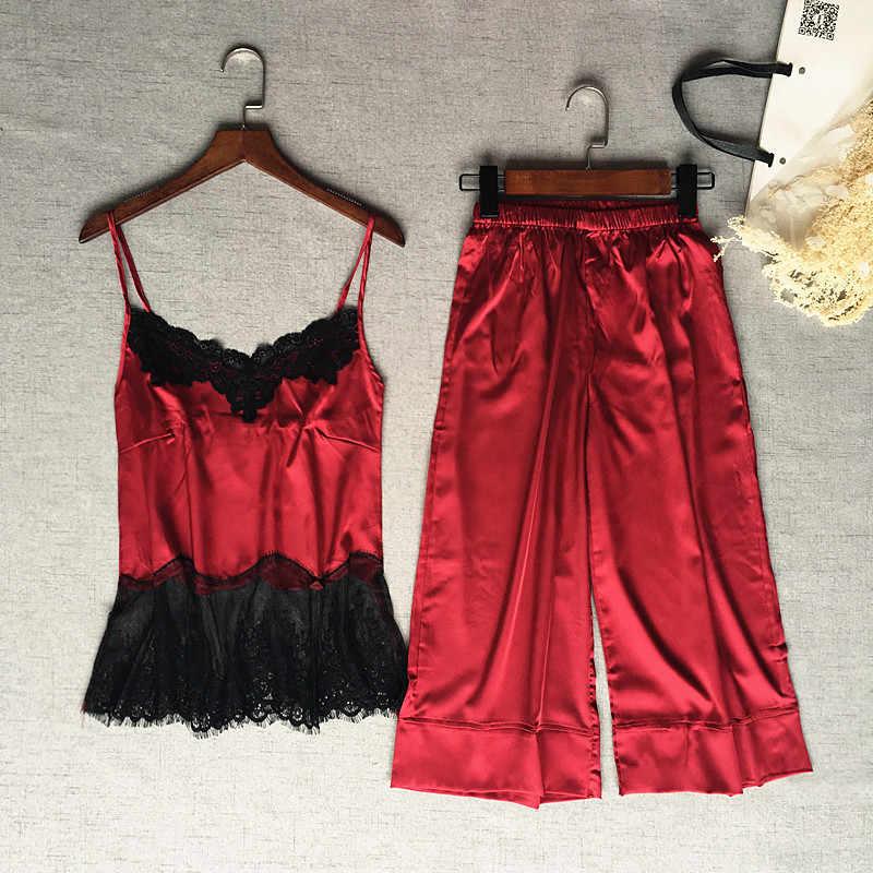 Женский шелковый атлас пижамный комплект без рукавов пижамный комплект с v-образным вырезом пижамный комплект кружевная ночная одежда для сна комплект из двух предметов для лета