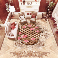 Custom Photo Floor Ustomized Wallpaper Marble European Pattern Soft Package Rose 3D Floor Tiles Self Adhesive