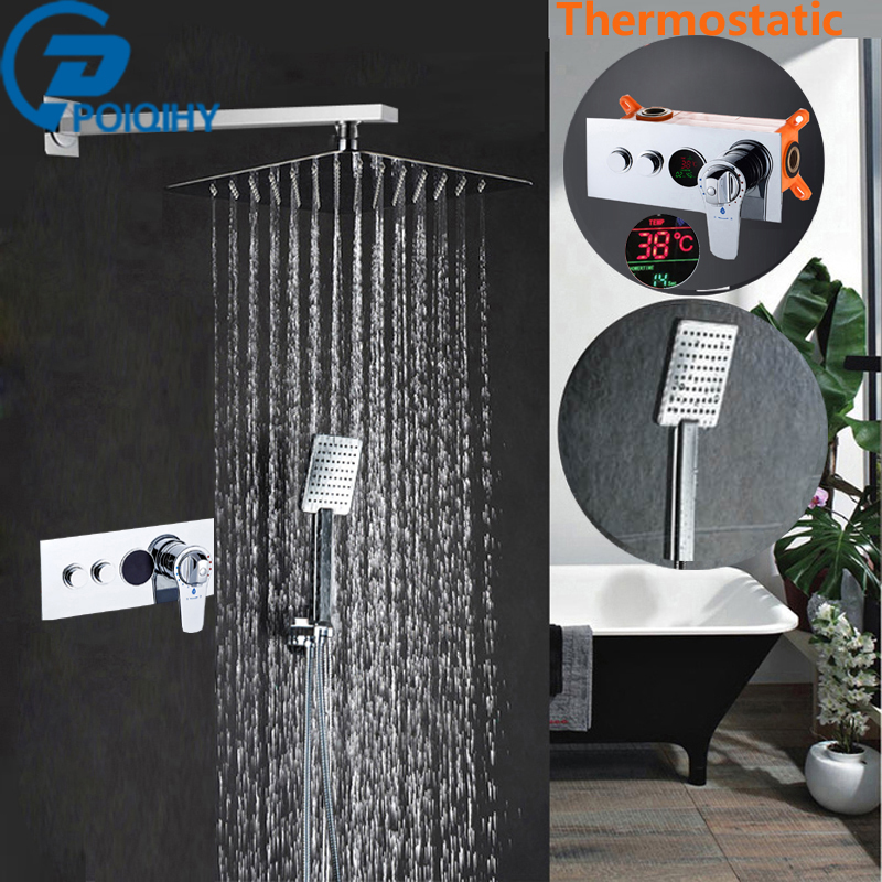 8' 10' 12 Thermostatic  Bath Faucet  Brass Shower Tap   Set Chrome Rainfall  Bathroom Shower  Faucet Mixer Tap Wall Mount high quality 100% brass chrome finish shower faucet concealed thermostatic shower valve mixer water tap round 3 dial 3 way