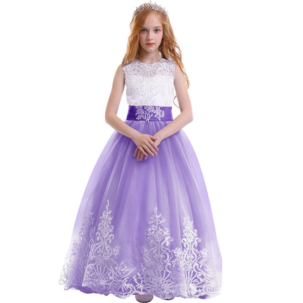 Elegant Kids Dresses for Girls Baby Kid Tulle Lace Trailing Long Dress  Girls Birthday Princess Party ca2833077b3e