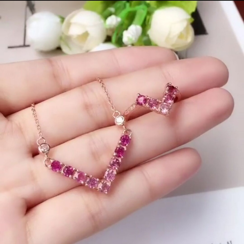 [MeiBaPJ]Natural Tourmaline Gemstone Necklace Ring for Women 925 Sterling Silver Wedding Fine Jewelry Sets 2 3mm red natural agate necklace multi layers 925 sterling silver with real pearl fine womne jewelry wedding party necklace