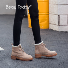 BeauToday Wool Snow Boots Women Genuine Leather Round Toe Lace-Up Platform Winter Ladies Ankle Length Shoes Handmade 03281 цены