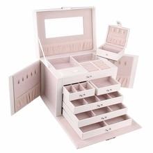 صندوق مجوهرات أبيض كبير للغاية للبنات والنساء بحلقة على شكل قلادة والقرط علبة تخزين ومرآة من الجلد الصناعي منظم قفل للعرض بنمطين