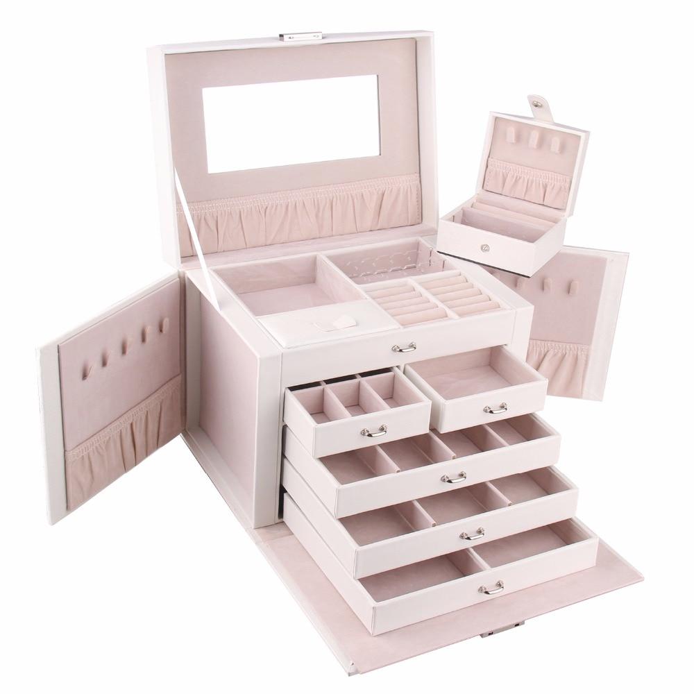 Blanc Extra Large boîte à bijoux cadeau collier anneau boucles d'oreilles conteneur mode mallette de rangement miroir Faux cuir organisateur 2 Styles