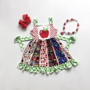 Image 1 - Nowy powrót do szkoły apple letnie bawełniane mleka jedwabiu dziewczynek boutique po opalaniu polka dot ubrania pasek do garnituru mecz akcesoria