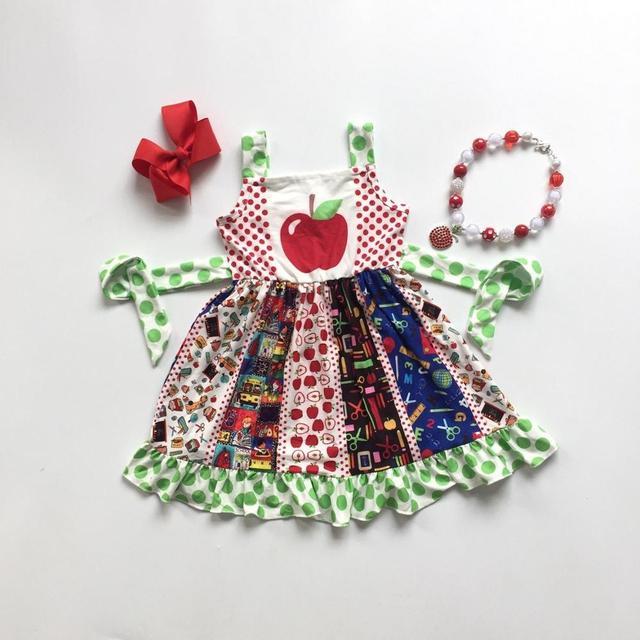Nowy powrót do szkoły apple letnie bawełniane mleka jedwabiu dziewczynek boutique po opalaniu polka dot ubrania pasek do garnituru mecz akcesoria