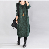 Spring Women Dress 2018 Fashion New Retro Art Large Size Loose Print Mid Long Dress Autumn