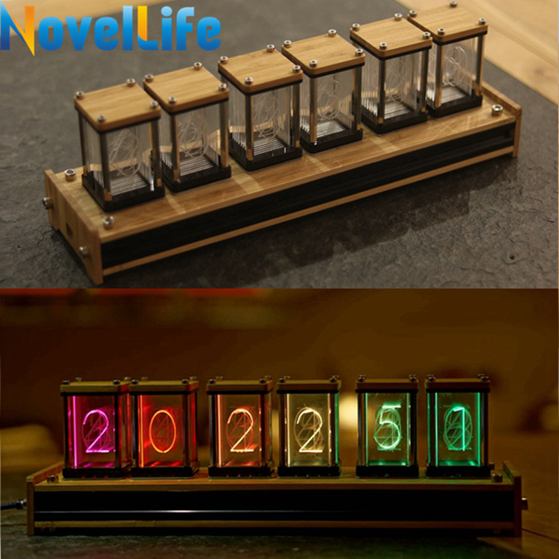 Elekstube Programmable 6 Bit RGB Glow Digital Clock Nixie Tube Clock Kit DIY Electronic Retro Desk Clock 5V Micro USB Powered 4 bit digital electronic clock chip digital clock digital clock four diy electronic parts diy kit production suite