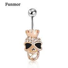 Piercing Shop Brand Black Enamel Skull Skeleton Body Jewelry Piercings Navel Belly Button Ring Accessories Steampunk