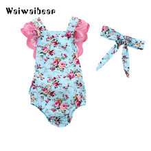 Newborn Baby  Floral Lace Rompers New Summer Sleeveless Ruffles Jumpsuit Clothes With Headband For Girls