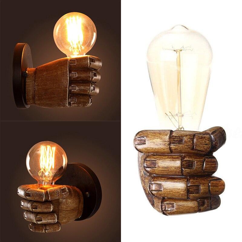 IKVVT Vintage Fist Resin Edison Aisle Cafe Wall Light Bulb Lamp Holder Home Art Decor