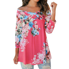 цена на 2018 Autumn Blouse Women Sexy Floral Print Blouses Three Quarter Sleeve Slash Neck Blusas Shirt Female Plus Size Ukraine Gv852