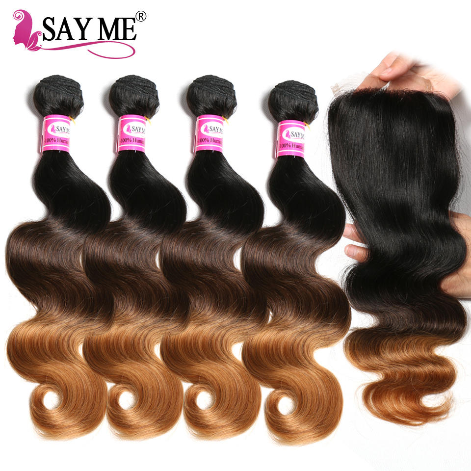 SAYME Human Weave Ombre 4 Bundles Brazilian Hair Body Wave Bundles With Closure Remy Ombre Human