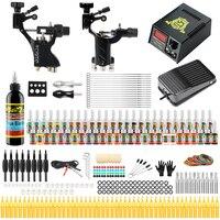Starter Beginner Complete Tattoo Kit Professional Tattoo Machine Kit Rotary Machine Guns 54 Inks Power Supply Grips Set TK255