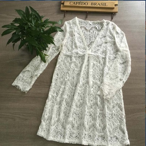 36d8170ad6d6 Pk Bazaar cover ups women white lace crochet pareo beach cover ...
