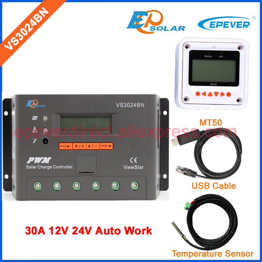 EPEVER 30A 24V solar Battery Charger Controller VS3024BN PWM New series Original EPEVER Product USB&temp sensor MT50 MeterEPEVER 30A 24V solar Battery Charger Controller VS3024BN PWM New series Original EPEVER Product USB&temp sensor MT50 Meter