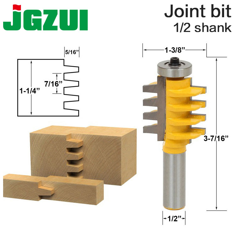 1PC 1/2 Inch Shank 12mm Shank Rail And Stile Finger Joint Glue Router Bit Cone Tenon Woodwork Cutter Power Tools RCT 15380