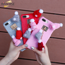KISSCASE Case For iPhone 6 6S iPhone 6 6S Plus 7 Plus Christmas 3D Knitted Hat Pendant Cover For iPhone 7 Plus 7 6 6s Plus Bag