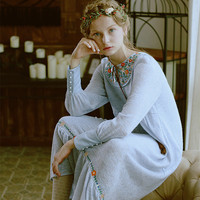 LYNETTE S CHINOISERIE Goldenbarr Fresh Water Blue Embroidery Anthocaulus Tassel Lantern Sleeve Knitted Long One Piece