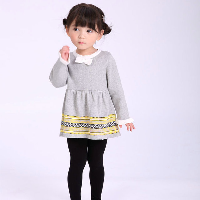 Autumn winter baby Girls cotton grey sweater dress cute knitted jersey  outfits infant dresses little baby toddlers clothes 9157f0673