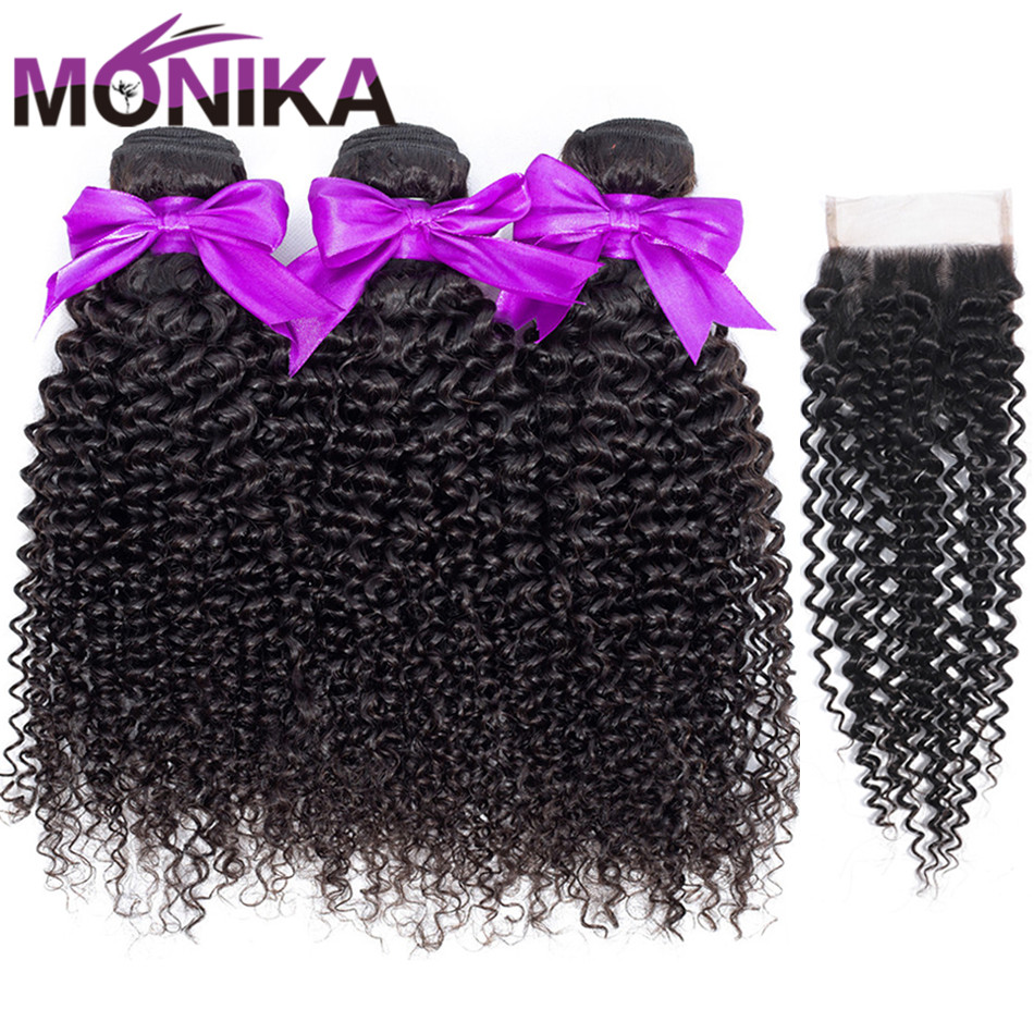 Monika Lace Closure with Bundles Brazilian Curly Hair 3 Bundles with Closure Non Remy Human Hair