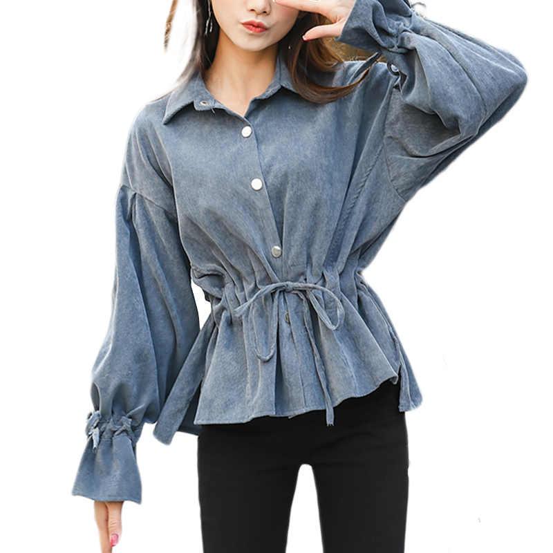 3c9a4295c554 2018 вельветовые корейские женские рубашки с расклешенными рукавами,  однотонные ...