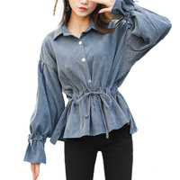 2017 Korean Puff Sleeve Corduroy Women Shirts Solid Color Ladies Casual Full Sleeve Tops Loose Female